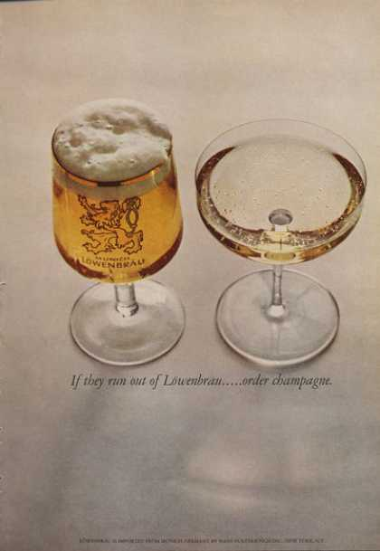 If Out of Lowenbrau Beer Glass Order Champagne (1962)