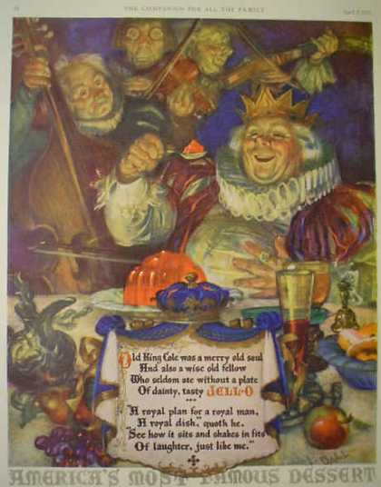 Jello Jell-O Old King Cole merry old soul Art by L Ball (1925)