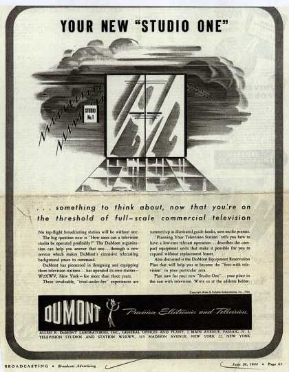 "Allen B. DuMont Laboratorie's Corporate ad – Your New ""Studio One"" (1944)"