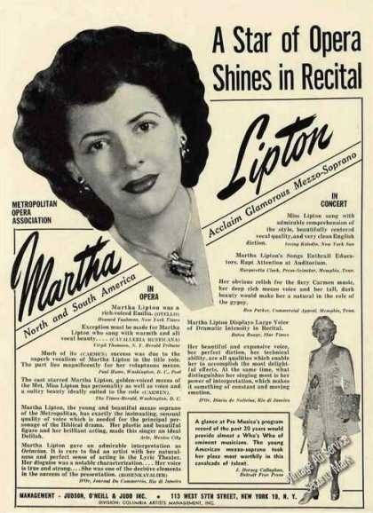 Martha Lipton Photo Mezzo-soprano Booking (1949)