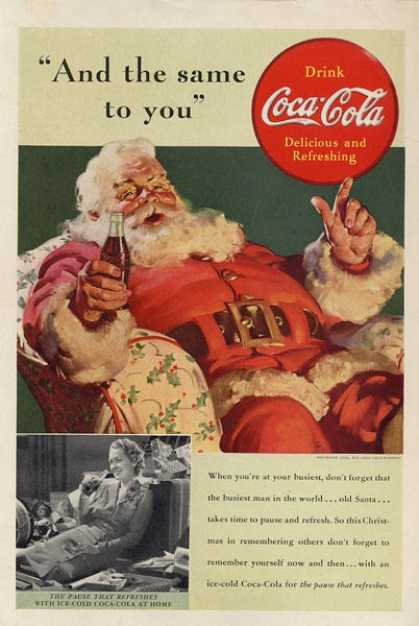 Vintage ad with Santa with a Coke in his hand.