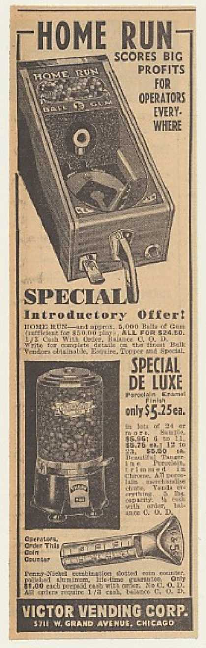 Victor Home Run Special DeLuxe Gum Ball Machine (1940)