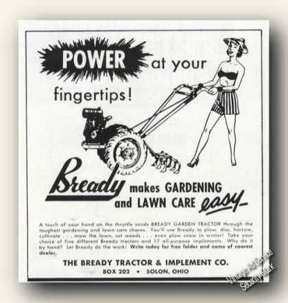 Bready Power at Fingetips Garden Tractor Adv (1951)