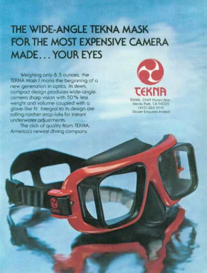 Tekna Scuba Diver Diving Mask (1976)