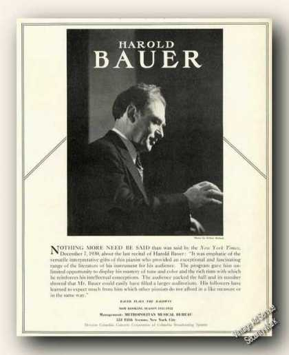 Harold Bauer Photo Piano Rare Ad Music (1931)