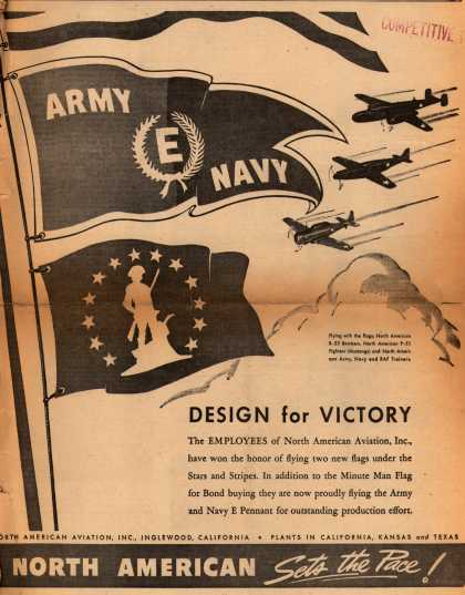 North American Aviation.'s Army Navy E and Minute Man Flag – Design for Victory (1942)