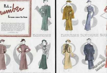 Woolen Fashion Drawings Large Print Feature (1937)
