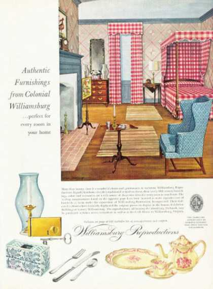 Williamsburg Preproductions Colonial Furniture (1958)