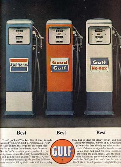 Gulf's three grades of gasoline (1963)