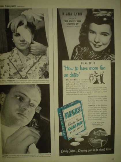 Fleers Gum. Diana Lynn. How to have more fun on dates (1946)