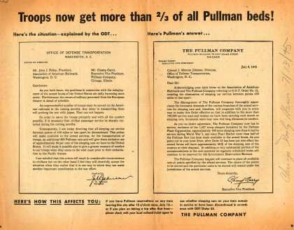 Pullman-Standard Car Manufacturing Company's Pullman Company – Troops now get more than 2/3 of all Pullman beds (1945)