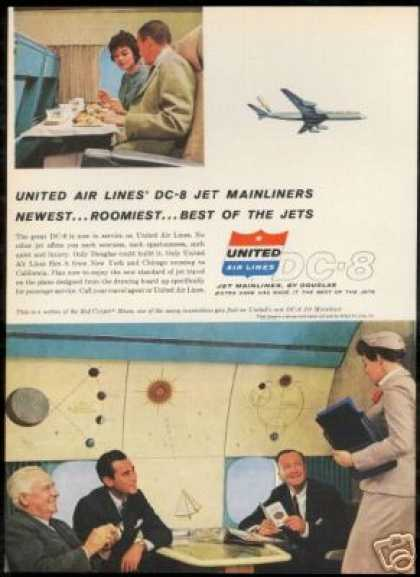 United Airlines Mainliner DC-8 DC8 Stewardess (1959)