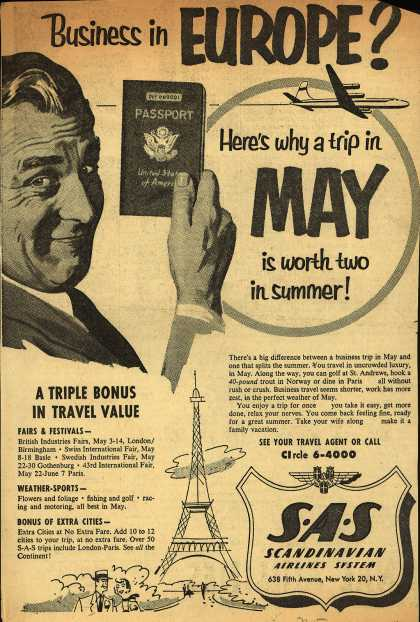 Scandinavian Airlines System's Business Travel in Spring – Business in Europe? Here's why a trip in May is worth two in Summer (1954)