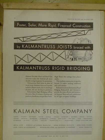 Kalman Steel Co. Faster safer more rigid fireproof construction (1930)