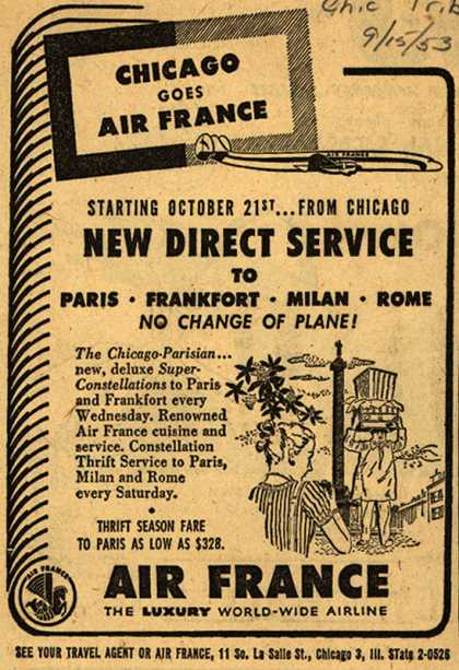 Air France's Direct Service to Paris, Frankfort, Milan, Rome – Chicago Goes Air France (1953)