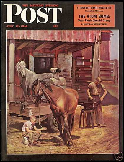 Post Magazine Cover Horse Blacksmith John Falter (1946)