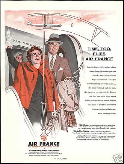 Time Flies Air France Airlines Kane Art (1954)