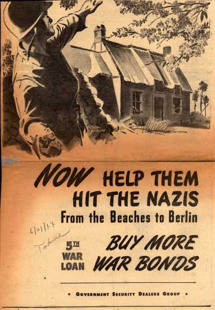U.S. Government Security Dealers Group's 5th War Loan – Now Help Them Hit The Nazis From the Beaches to Berlin (1944)