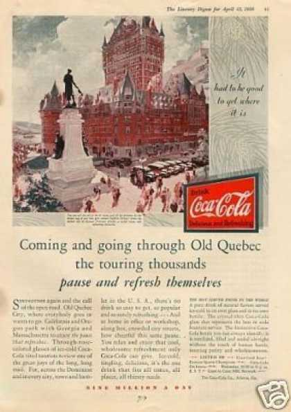 Coca-cola Color Ad Old Quebec City (1930)