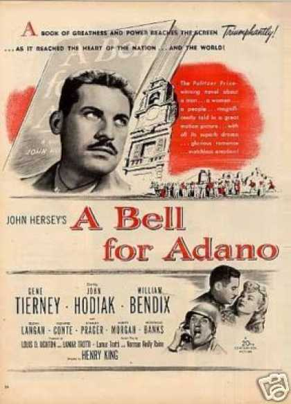 "Movie Ad ""A Bell for Adano"" John Hodiak (1945)"