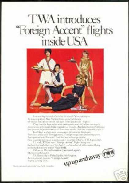 TWA Airlines Foreign Accent Stewardess (1968)