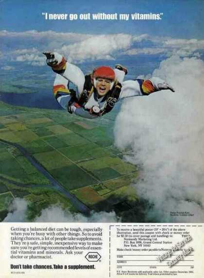 Skydiver Gulshin Gilbert Photo Roche Vitamins (1983)