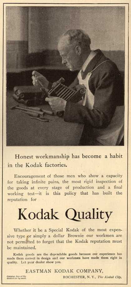 Kodak – Honest workmanship has become a habit in the Kodak factories. (1913)