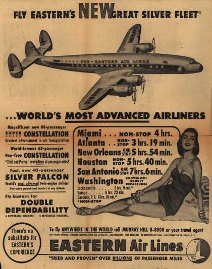 Eastern Air Lines – Fly Eastern's New Great Silver Fleet ...World's Most Advanced Airliners. (1952)