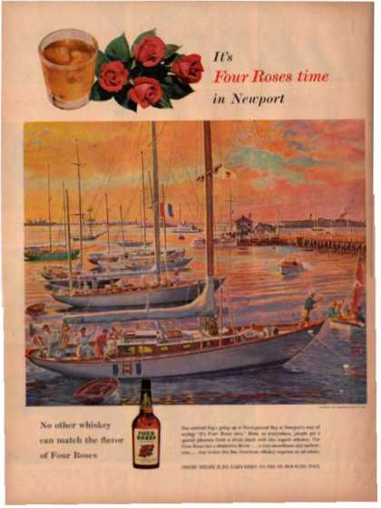 Four Roses Whiskey Sailboat Sunset Bay Sea Art (1955)
