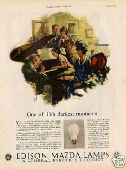 "Edison Mazda Lamps Ad ""One of Life's Darkest... (1926)"