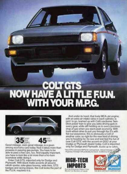 Dodge Colt Gts Have a Little Fun With Your Mpg (1983)