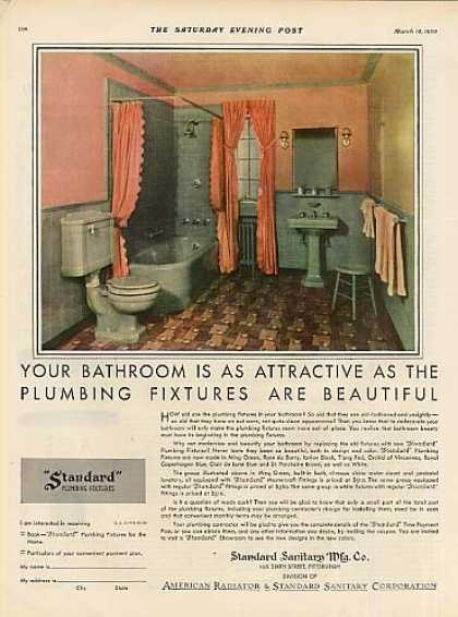 Standard Plumbing Color Ad 2 Page (1930)