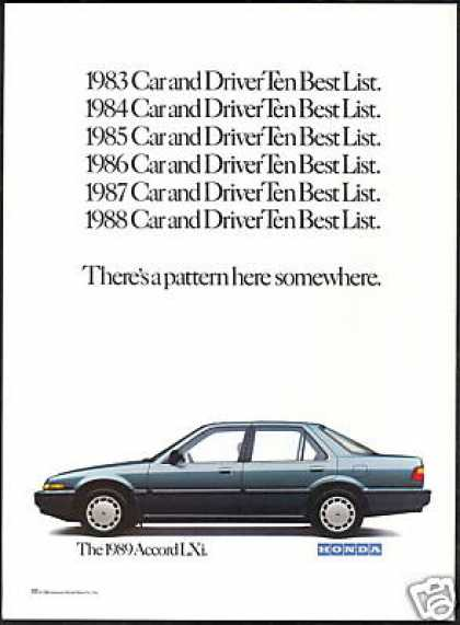 Honda Accord LXi Photo Car And Driver (1989)