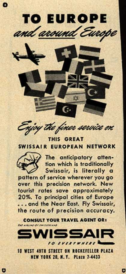 SwissAir's Service – To Europe and around Europe (1953)
