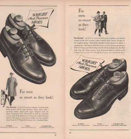 Wright Brand Shoes Ads – Drexel with Arch Preserver – Set of Two (1949)