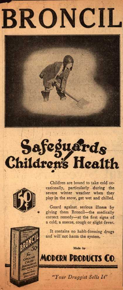 Modern Products Company's Broncil – Broncil Safeguards Children's Health (1929)