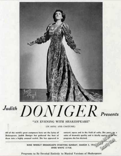 Judith Doniger Photo Concert Opera Radio Trade (1944)