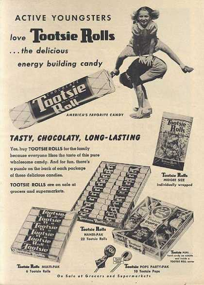 "Tootsie Roll's ""Active youngsters love (1954)"