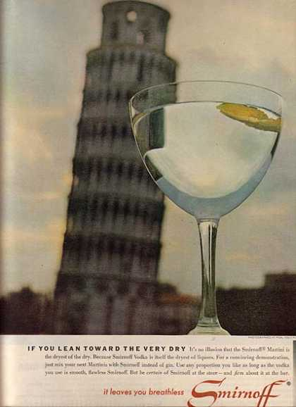 Smirnoff's dryest of liquors (1963)