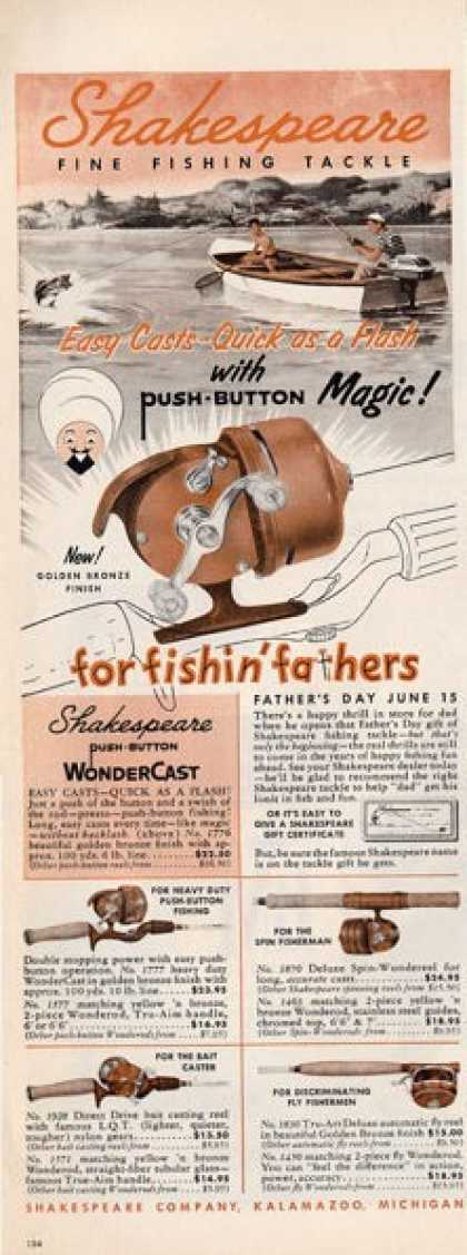 Shakespeare Wonder Cast Fishing Reel Ad T (1958)