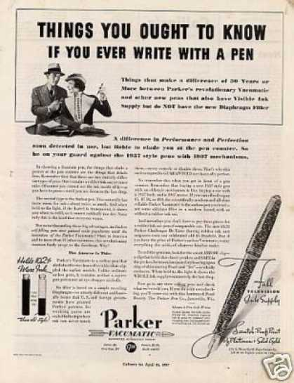 "Parker Vacumatic Pen Ad ""Things You Ought... (1937)"