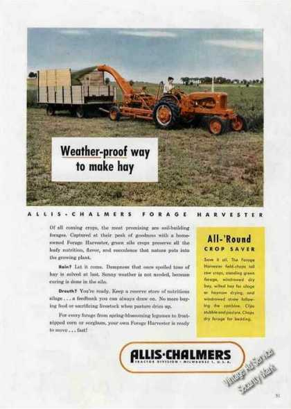 Allis-chalmers Forage Harvester Rare Photo Farm (1953)