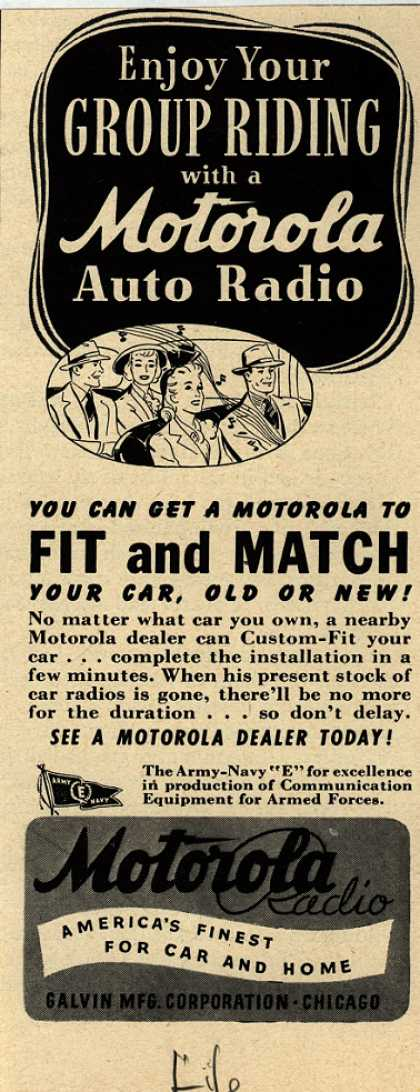 Galvin Manufacturing Corporation's Auto Radio – Enjoy Your Group Riding with a Motorola Auto Radio (1943)