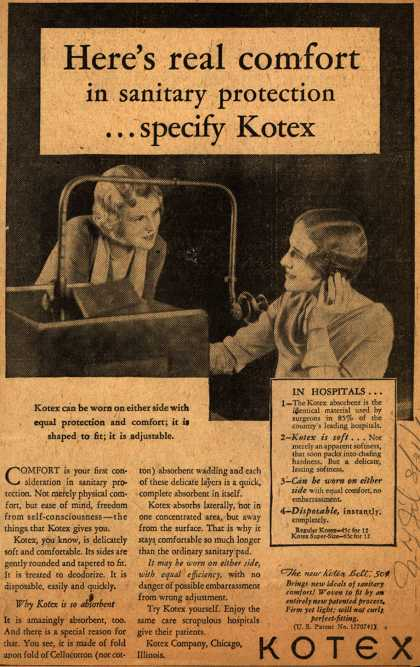 Kotex Company's Sanitary Napkins – Here's real comfort in sanitary protection...specify Kotex (1931)