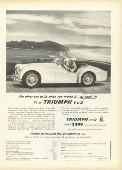 Triumph Tr 2 Sports Car at the Beach (1955)