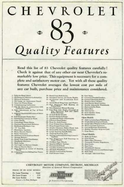 Chevrolet List of 83 Quality Features Prices (1924)
