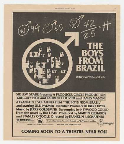 Gregory Peck The Boys From Brazil Movie Promo (1978)