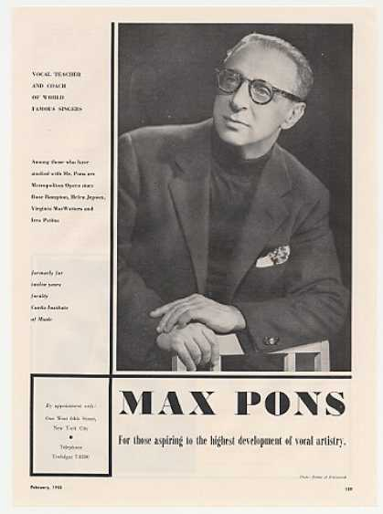 Vocal Teacher Max Pons Photo Booking Promo (1953)