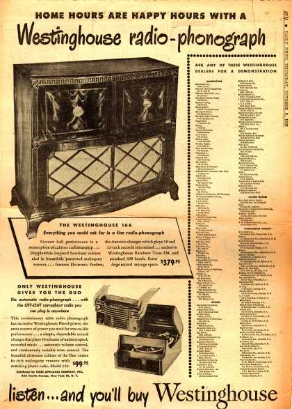 Westinghouse Electric Corporation's Various – Home Hours are Happy Hours with a Westinghouse radio-phonograph (1947)