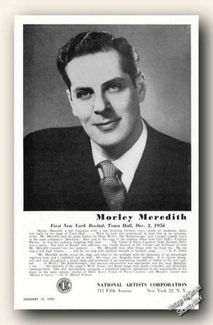 Morley Meredith Photo Baritone Music (1957)